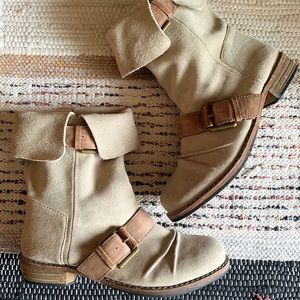 Modern Vintage Taupe Oiley Suede Leather Boots